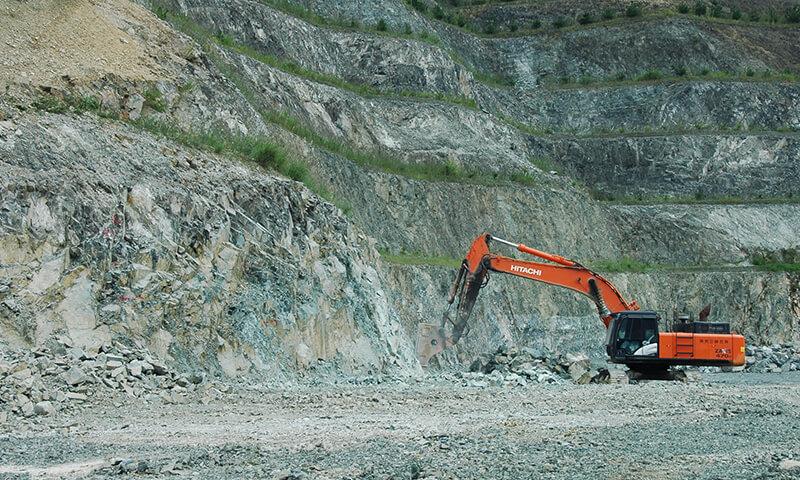 ひん岩採掘風景